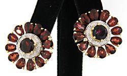 Garnet & Diamond Earrings