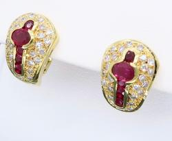 Attractive 18k Diamond and Ruby Earrings
