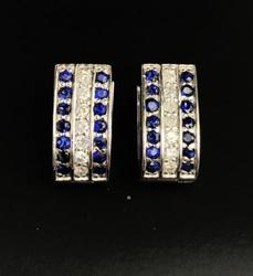 Sapphire & Diamond Earrings in 14kt Gold
