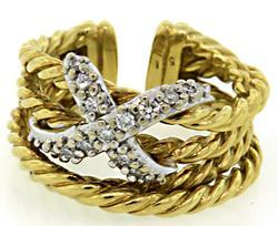 David Yurman 18K 4 Row Ring with Pave Diamond X