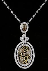 LeVian Two Tone Pendant Necklace with Diamonds