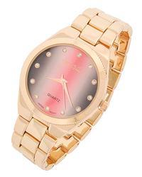 Charming Gold Tone Pink & Grey With Rhinestone Watch