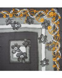 Silky Grey Flowers & Chains Ladies Scarf