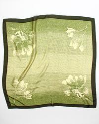 Floral Olive Color Jacquard Pattern Silk Scarf