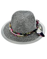 Lovely Grey Summer Hat With Ribbon