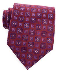 Burgundy & Blue 100% Silk Handmade Tie