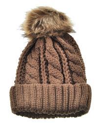 Fur Pompom Brown Beanie Hat