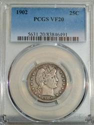 1902 Barber Quarter in PCGS VF20