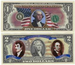 2009 Colorized $1 and $2 Bills