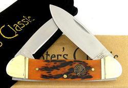 Hunter's Classic Canoe 2 Blades Folder Knife Jigged Bone Handle