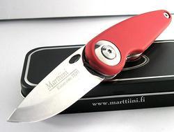 Marttiini Pelican Folder RED Rubberized Handle Knife