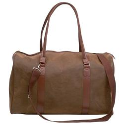 Brown Leather Duffle Gym Bag, 21 inches