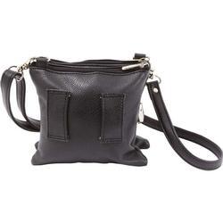 Multi-Pocket Black Ladies Leather Handbag