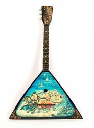 Vintage Actual Size Russian 3-String Wooden Balalaika