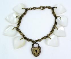 Early Mother Of Pearl Dangly Hearts Bracelet