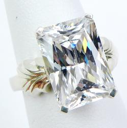 High Quality Radiant CZ Ring in Sterling