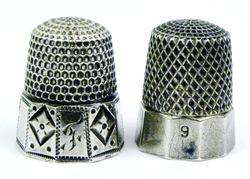 2 Antique Sterling Silver Panel Thimbles