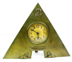 Antique Brass Egyptian Pyramid Table Clock