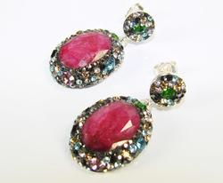 Spectacular Large Gemstone Multi Gems 925 S Earrings
