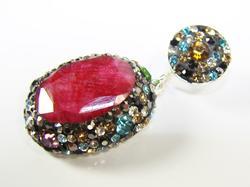 Spectacular Large Gemstone Multi Gems 925 S Pendant