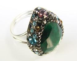Spectacular Large Gemstone Multi Gems 925 S Ring