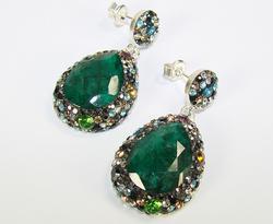 Spectacular Large Gemstone Multi Gems 925 S Earrings