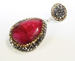 Glamorous Large Gemstone with Crystals 925 SS Pendant
