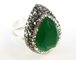 Glamorous Large Gemstone with Crystals 925 SS Ring