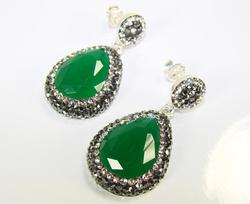 Glamorous Large Gemstone with Crystals 925 SS Earrings