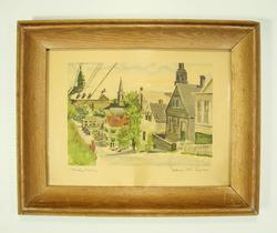 Fantastic Watercolor Old Town Scenary Vintage Framed Print