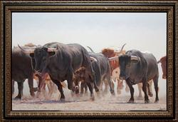 Marching Bulls by Spanish Painter Manuel Higueras