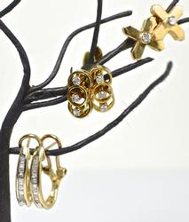 Three Pairs of Gold and Diamond Earrings