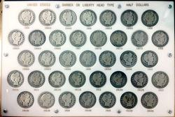 1904-1915 37pc Barber Half Dollar Set, Circulated