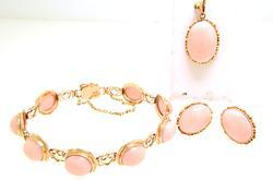 Pink Jade Bracelet, Earrings, Pendant Set