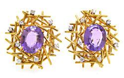 Amethyst Bird's Nest Earrings with Diamonds