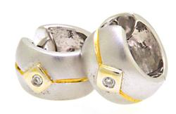 Two Tone Huggie Earrings with Diamond Accents, 14K