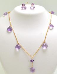 Amethyst Briolette Earrings & Necklace Set