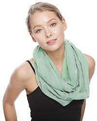 Mint Color Glitter Polka Dot Embroidery Infinity Scarf