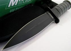 Black Boot Double Edge Leather Handle Knife