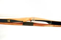 Two Vintage Long Wooden Bows, Black Hawk Yellow Jacket