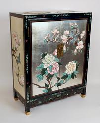 Oriental Chinese Hand Crafted Lacquered 2-Door Cabinet