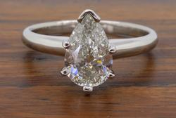 GSI Certified Pear Cut Diamond Solitaire