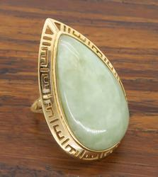 14K Yellow Gold Jadeite Jade Cocktail Ring