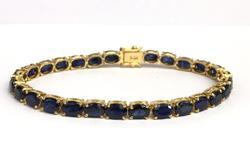 14kt Yellow Gold & 14 Carat Sapphire Tennis Bracelet