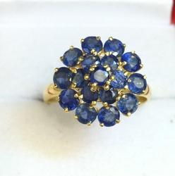Dazzling Blue Sapphire & Gold Cocktail Ring