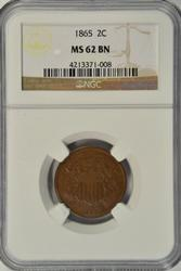 Select BU 1865 Two Cent Piece. NGC MS62