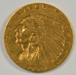 Handsome 1910 US $2.50 Indian Gold Piece