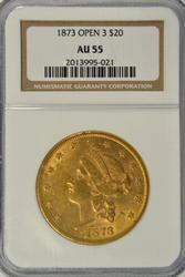 Near Mint 1873 (Open 3) Ty 2 $20 Liberty Gold NGC AU55