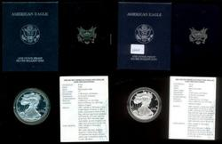 2 Different US Proof Silver Eagles: 1998 and 2001