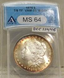 1878-7/8TF Morgan Dollar VAM-33 Weak ANACS MS-64